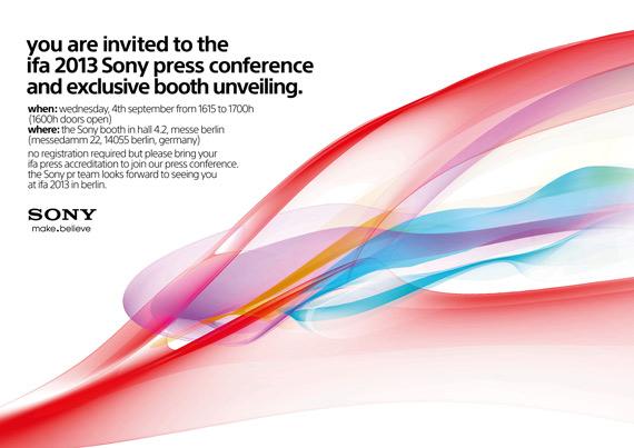 Sony press invitation IFA 2013