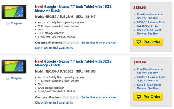 new Nexus 7 prices