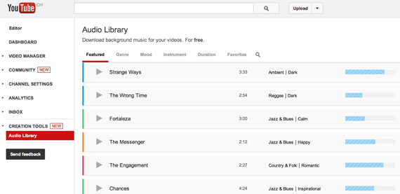 YouTube, Προσθέτει βιβλιοθήκη background μουσικής