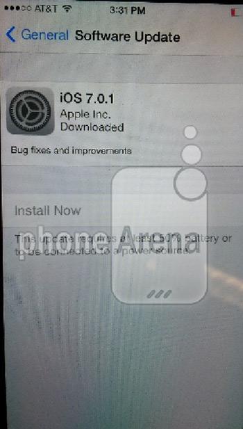iOS 7.0.1 update screenshot