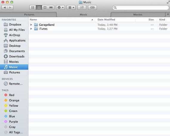 Mac OS X Mavericks Finder tabs screenshot