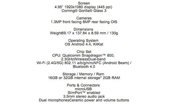 Nexus 5 Canada WIND specs leaked