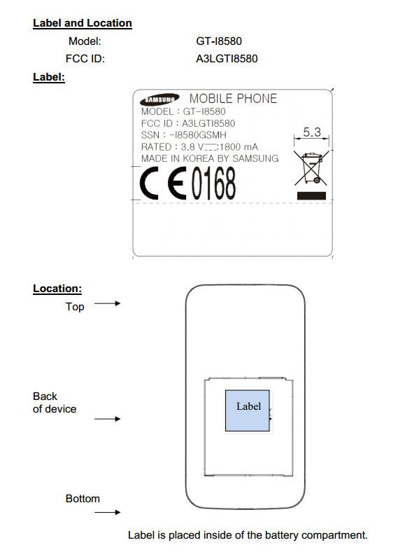 Samsung GT-I8550 FCC