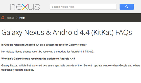 Samsung Galaxy Nexus wont get update