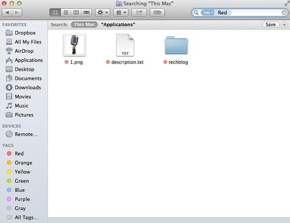 Mac OS X Mavericks Tags screenshot