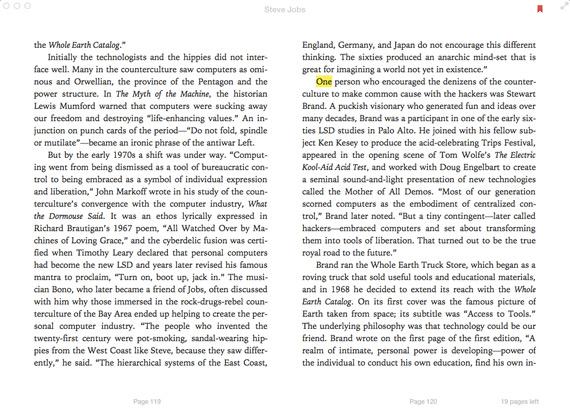 Mac OS X Mavericks iBooks screenshot