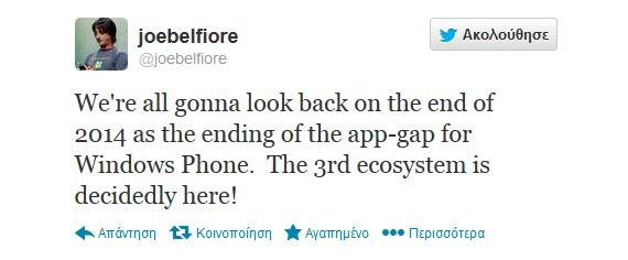 Joe Belfiore app-gap tweet