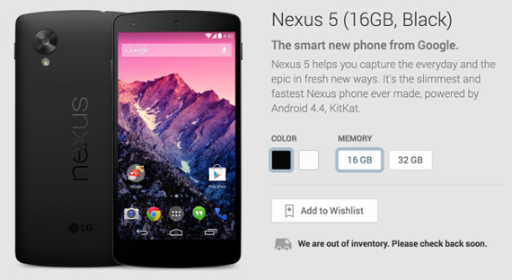Nexus 5 sold-out