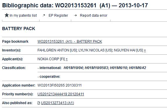 Nokia foldable battery