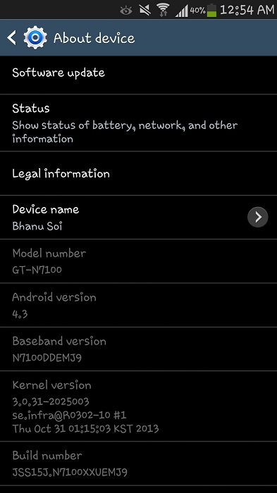 Samsung Galaxy Note II Android 4.3