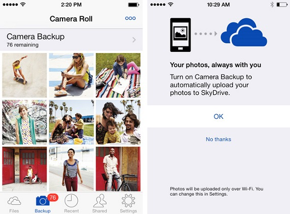 Skydrive iOS camera backup