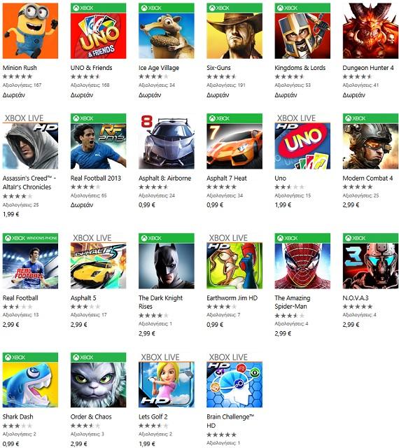 Gameloft Windows Phone Titles