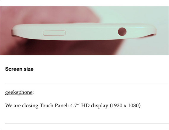 Geeksphone Revolution 4.7-inch display