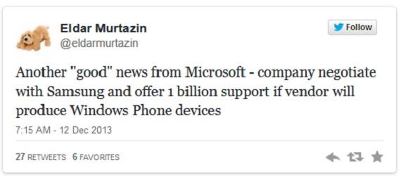 Microsoft Samsung 1 billion