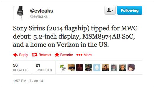 evleaks Sony Sirius
