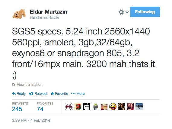 Eldar Murtazin Galaxy S5 specs Twitter