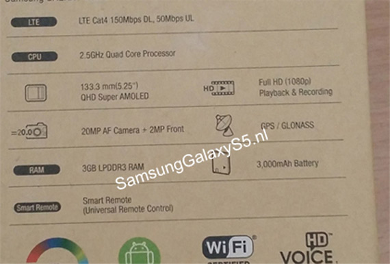 Galaxy S5 box specs leak