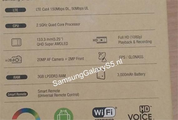 Galaxy S5 box specs leak