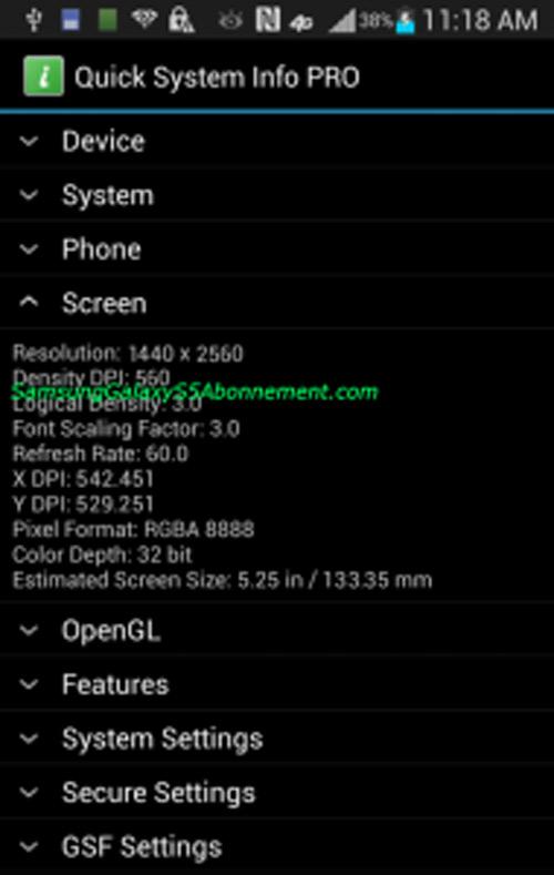 Galaxy S5 screen specs screenshot
