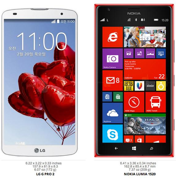 LG G2 Pro vs Nokia Lumia 1520
