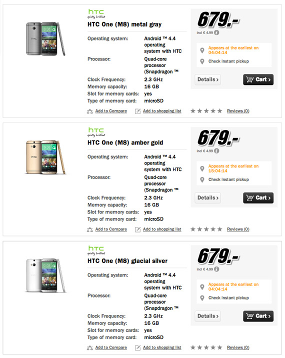 HTC One M8 679 euro Germany MediaMarkt