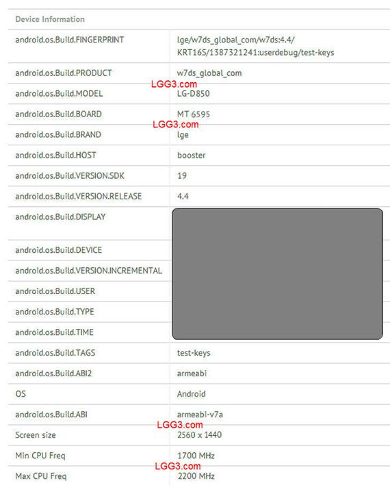 LG G3 specs leaked