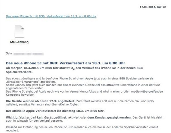 O2 Germany iPhone 5c 8GB