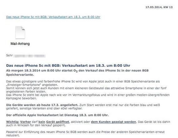 O2 Germany iPhone 5c 8GB
