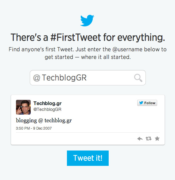 Techblog first tweet