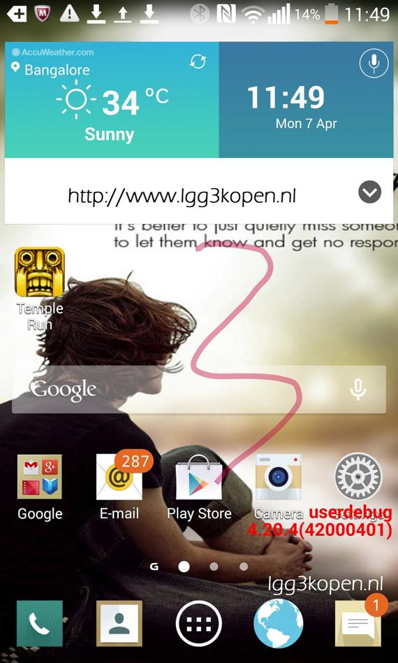 LG G3 UI screenshot