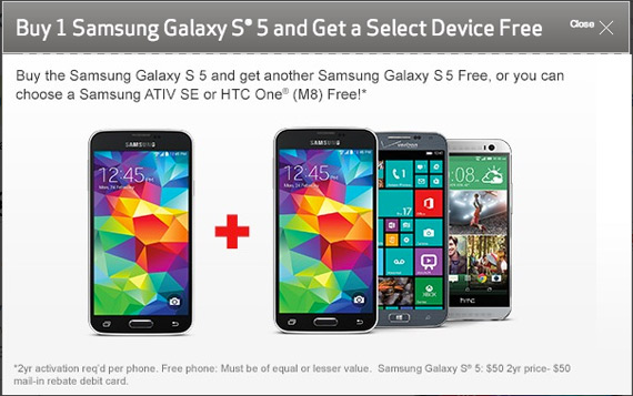 Verizon Galaxy S5 and one free