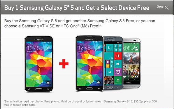 Verizon Galaxy S5 and one free