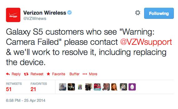 Verizon Wireless Galaxy S5 fault camera tweet