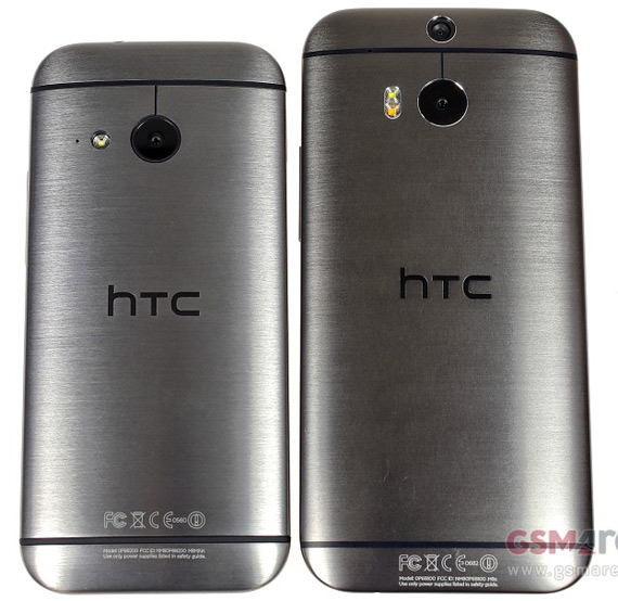 HTC One mini 2 vs One M8 back