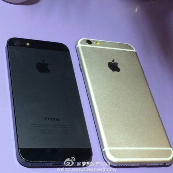 Taiwanese-celebrity-Jimmy-Lin-published-pictures-of-the-alleged-iPhone-6-compared-to-the-iPhone-5s-(1)