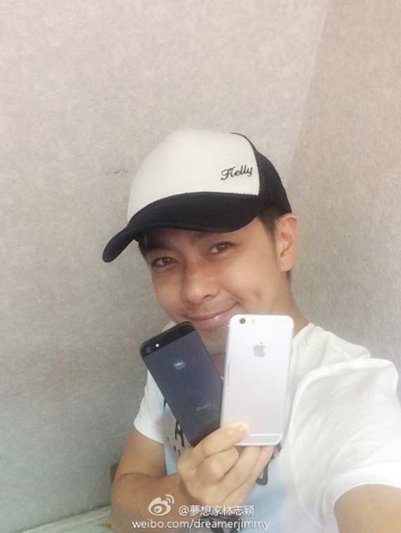 Taiwanese-celebrity-Jimmy-Lin-published-pictures-of-the-alleged-iPhone-6-compared-to-the-iPhone-5s