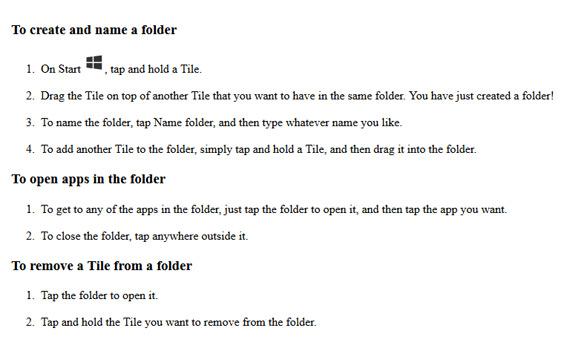 Windows Phone 8.1 folder apps