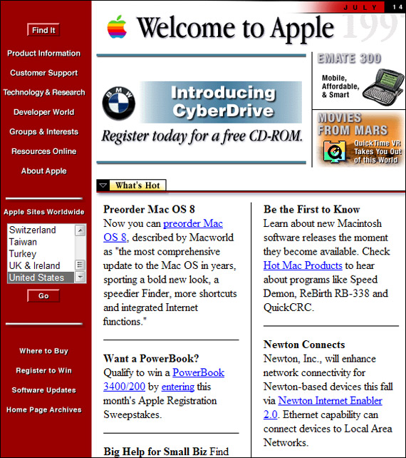 Apple website past