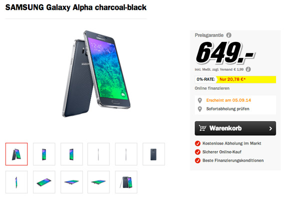 Samsung Galaxy Alpha price 649 euro