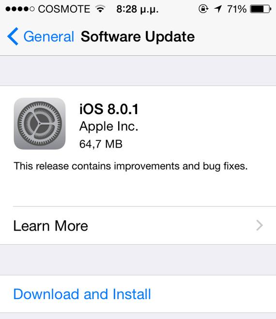 iPhone 5c iOS 8.0.1 update
