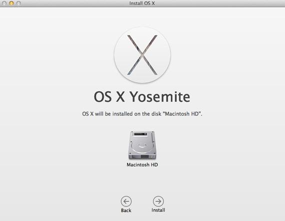 Install OS X Yosemite