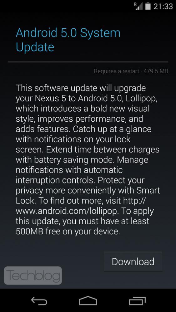 Nexus 5 Android Lollipop update