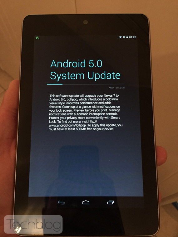 Nexus 7 Android Lollipop update