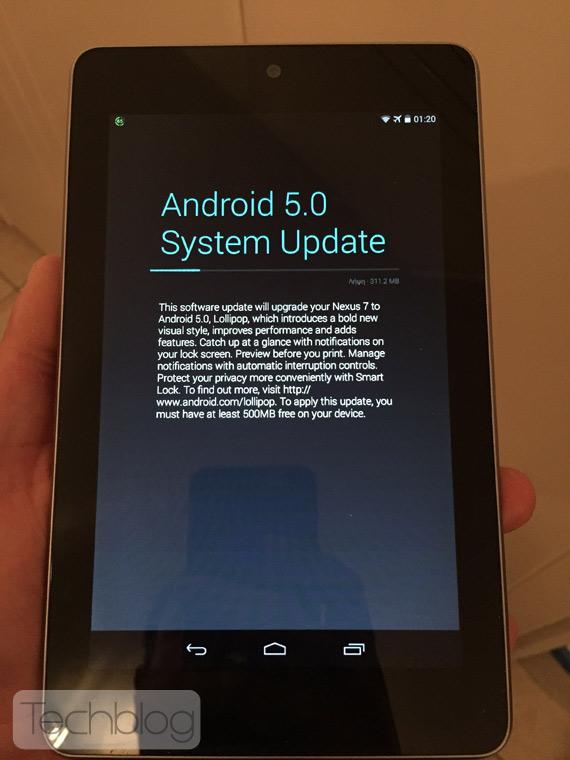 Nexus 7 Android Lollipop update