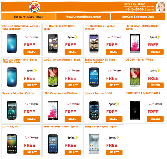 Burger King free Android smartphones