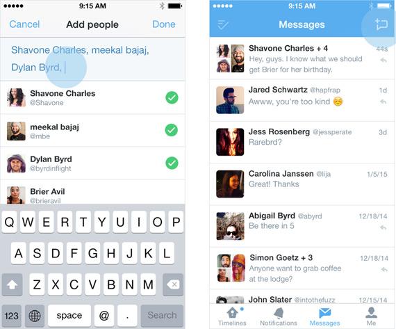 Twitter new app mass messages