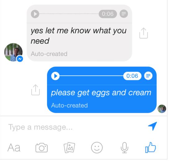 facebook messenger voice to text
