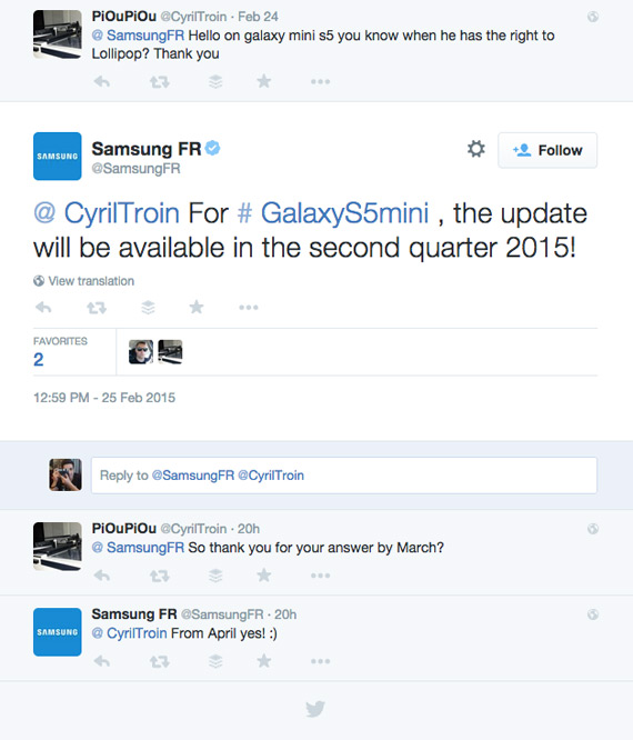 Galaxy S5 mini lollipop update france tweet