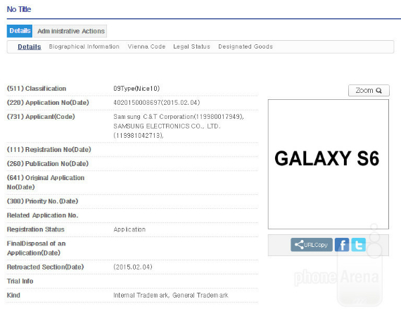Galaxy S6 S6 Edge trademarked