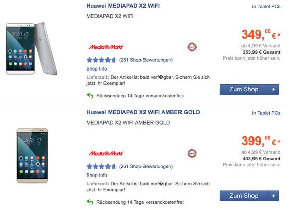 Huawei MediaPad X2 price Germany